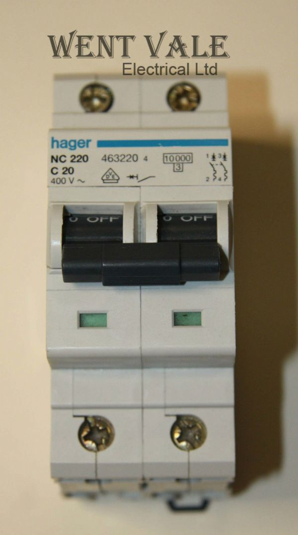 Hager NC220 - 20a Type C Double Pole MCB Used